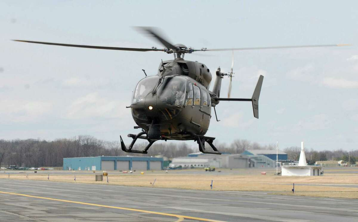 Master Sgt. Raymond Drumsta / New York Army National Guard New York Army National Guard UH-72 Lakota observation helicopter returns to the Army flight facilty in Latham following a six-month mission on the Mexican border.