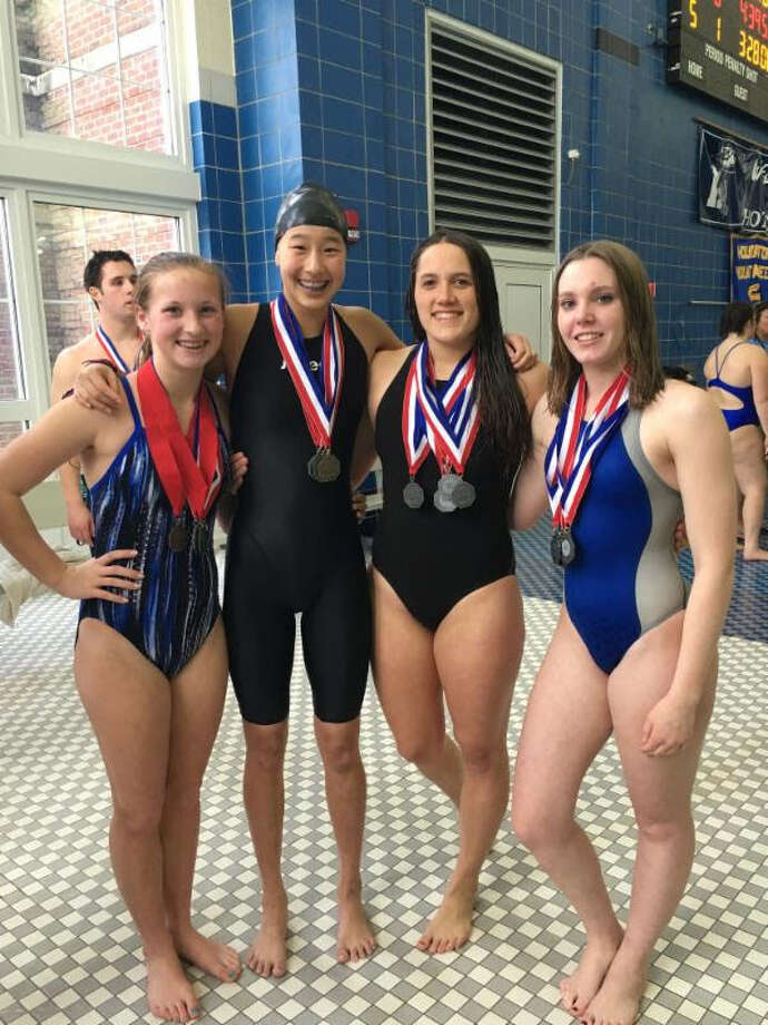 Hannah Lasky, Micaela O'Malley, Haley Pesce, Amber Wright, from left, broke an 11-year-old Shepaug record in the 200 medley relay at the Berkshire League Championships Photo: John Nester / John Nester / The News-Times