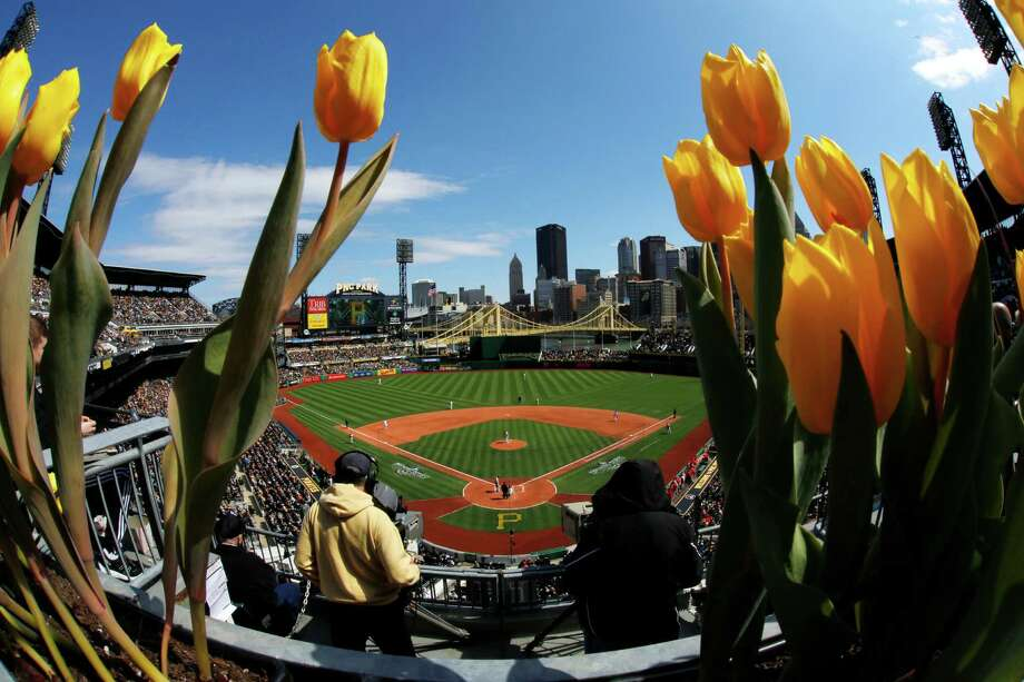 The Pittsburgh Pirates play the St. Louis Cardinals in the opening day baseball game at PNC Park in Pittsburgh, Sunday, April 3, 2016. (AP Photo/Gene J. Puskar) ORG XMIT: PAGP123 Photo: Gene J. Puskar / Copyright 2016 The Associated Press. All rights reserved. This m