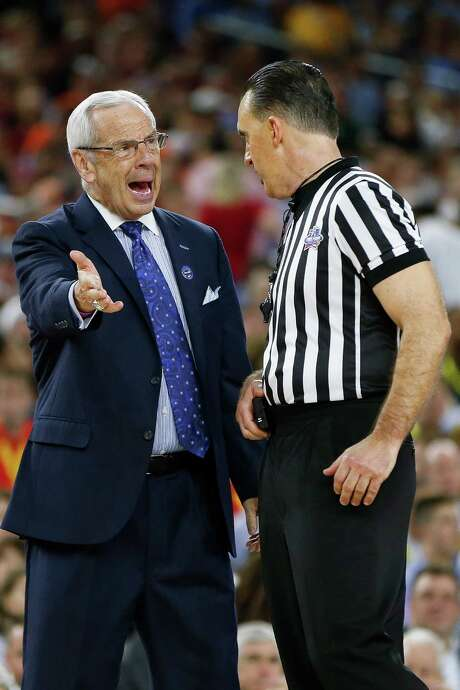 North Carolina coach Roy Williams takes umbrage with an official's call in Saturday's  83-66 win over Syracuse that put the Tar Heels in tonight's title game against Villanova. Photo: Karen Warren, Staff / © 2016  Houston Chronicle