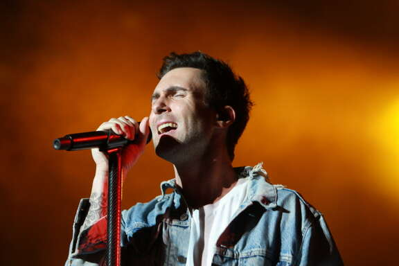 Adam Levine of Maroon 5 performing at the March Madness Music Fest at Discovery Green. (For the Chronicle/Gary Fountain, April 3, 2016)