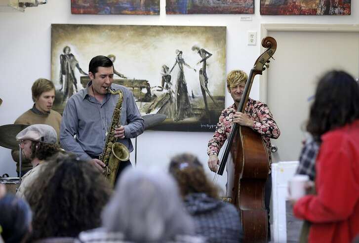 Grant Levin on piano, Rob Mills on drums, Danny Brown on sax, and Lukas Vesely on bass during a jazz jam session at Noise in San Francisco, Calif., on Sunday, April 3, 2016. Daniel Brown, 27, and his mother, Sara Johnson , 59 have opened a storefront record store and art gallery.  Dan is a professional sax player and on Sunday afternoon from 3 to 6 he holds a jam session in the back of the store.  Professional jazz players come from all over to play while people sit and listen and others browse through racks of classic rock and jazz vinyl.