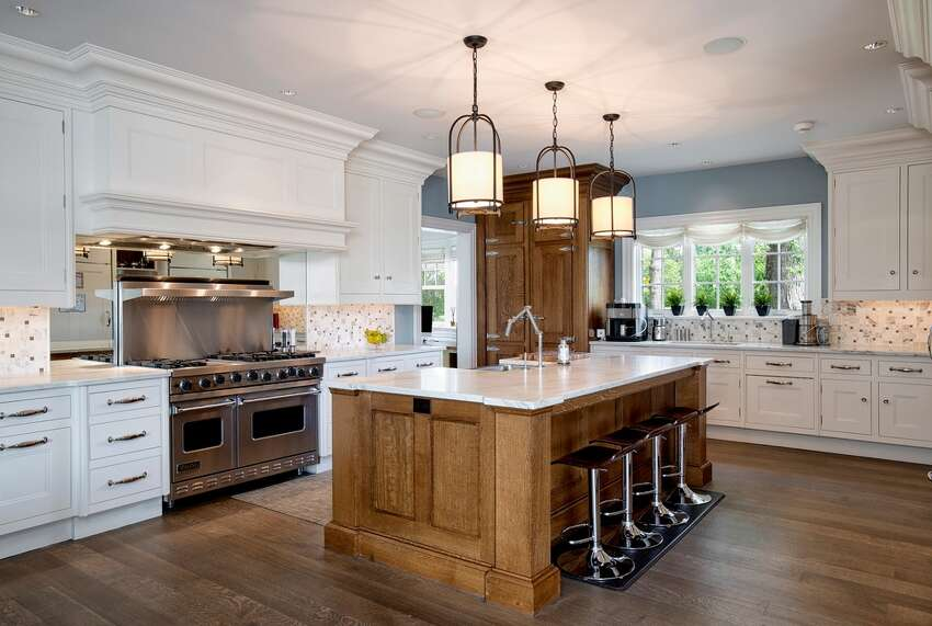 186 Shore Rd, Old Greenwich, CT 06870 6 beds 9 baths 8,803 sqft Peacock kitchen with Calacatta marble center isle and walk-in pantry View full listing on Zillow