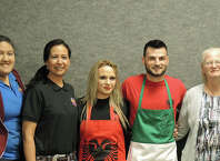 Taste of Jasper 2016 Winners left to right Best Dessert - Elijah's Cafe Leo Cruz, Stephanie Escalante, and Maria Escalanate, Peoples Choice - Bella Sera Italian Restaurant Victoria Ade and Al Ade, Best Decorated - Belle-Jim Hotel owners Pat and David Stiles