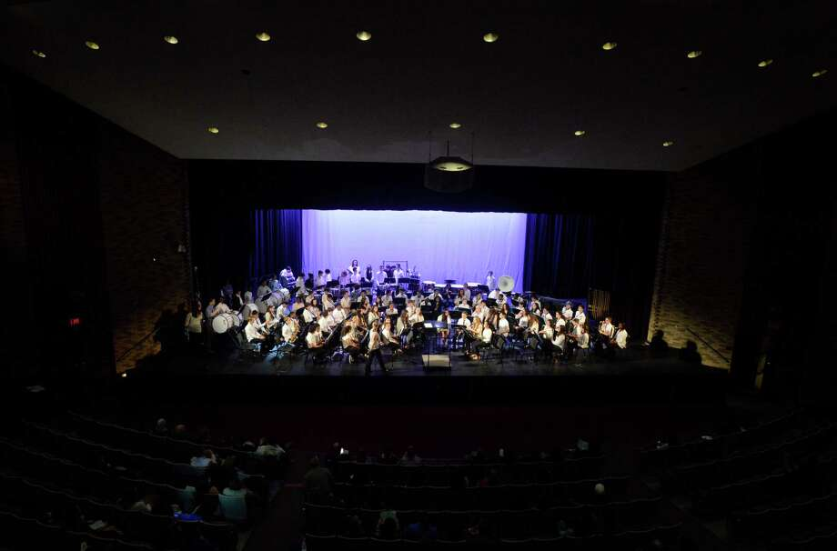 Student musicians of the combined Stamford Middle School bands perform the Star Spangled Banner during the Stamford Public Schools All-District Band Festival at Westhill High School on March 31, 2016. The festival featured over 207 musicians in bands from AITE, Cloonan, Dolan, Rippowam, Rogers International, Stamford High School, Turn of River and West Hill High School. Photo: Matthew Brown / Hearst Connecticut Media / Stamford Advocate