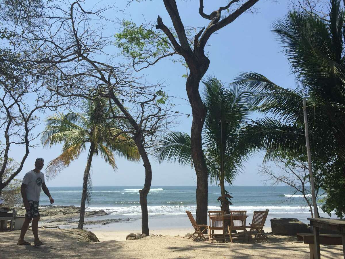The Pacific coastline on from La Luna restaurant in Nosara, Costa Rica in March 2016.