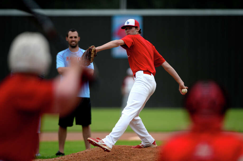 Lumberton's senior pitcher Brandon Young pitches during practice on Tuesday afternoon. Young had Tommy John surgery the fall of his sophomore year.  Photo taken Tuesday 3/29/16 Ryan Pelham/The Enterprise Photo: Ryan Pelham / ©2016 The Beaumont Enterprise/Ryan Pelham