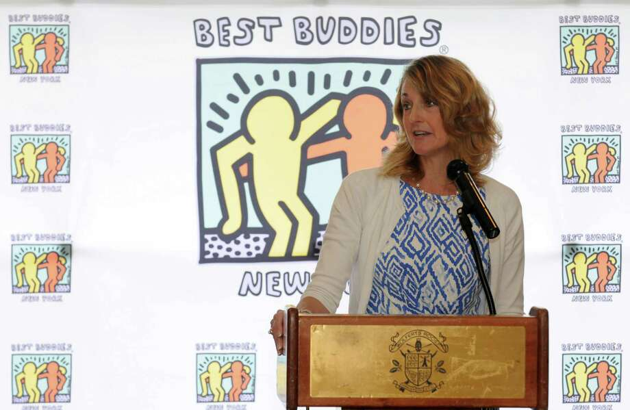 Jennifer MacPhee speaks after being honored as female executive of the year by Best Buddies of New York during a luncheon and Best Buddies Albany Women Making a Difference Fashion Show at Wolferts Roost on Saturday April 2, 2016 in Albany, N.Y. (Michael P. Farrell/Times Union) Photo: Michael P. Farrell / 10036044A