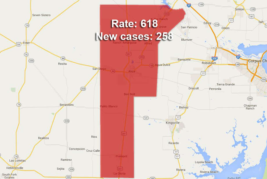 20. Jim Wells CountyChlamydia rate per 100,000: 618New chlamydia cases: 258 Photo: Google Fusion Tables/maps