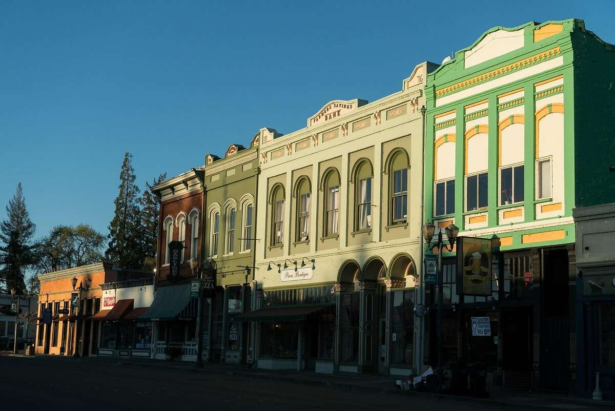 The sun rises over Main Street in Lakeport, Calif. on Monday, March 28, 2016. Lakeport features activities such as dining, fishing and shopping.