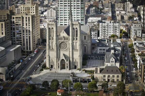 Grace Cathedral is seen from the Fairmont Hotel on Tuesday, Jan. 29, 2013 in San Francisco, Calif.