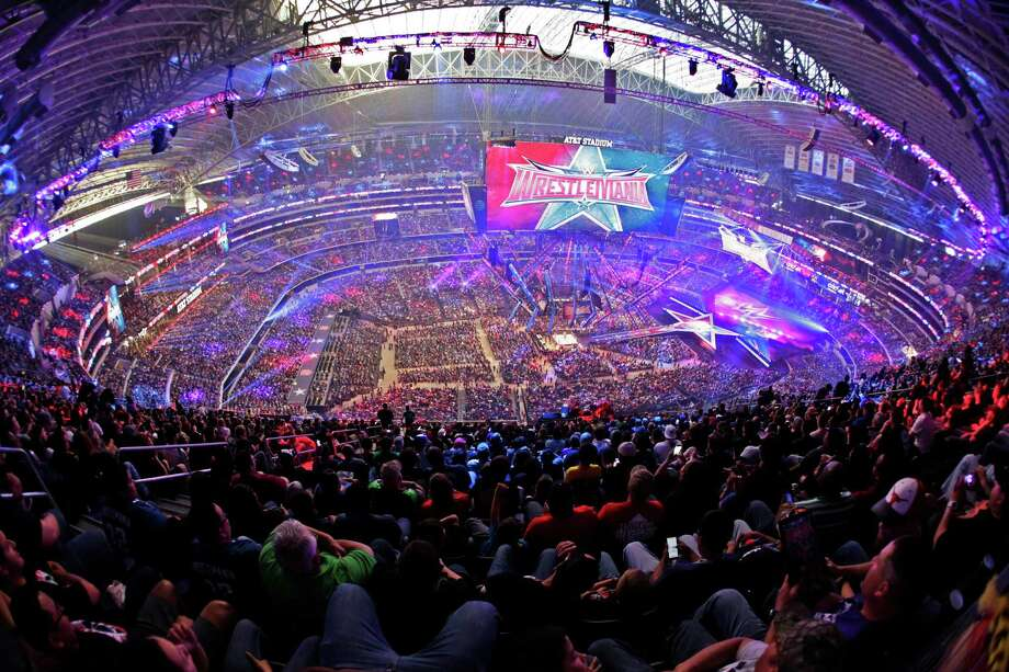 Wrestlemania 32 was held April 3, 2016 in Arlington, Texas, setting an attendance record for the event held by Stamford, Conn.-based WWE. Photo via BusinessWire. Photo: Craig Ambrosio / Craig Ambrosio / @ Craig Ambrosio, 2015