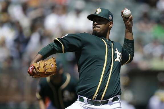 Oakland Athletics pitcher Felix Doubront works against the  San Francisco Giants in the first inning of an exhibition baseball game Saturday, April 2, 2016, in Oakland, Calif. (AP Photo/Ben Margot)