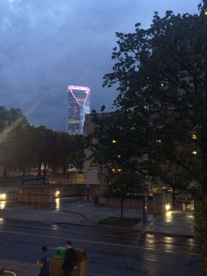 On International Transgender Day of Visibility rally in Charlotte, N.C., on March 31, 2016, Wells Fargo lit up the 54-story Duke Energy Center in the colors of the transgender flag. Photo: Scott Bishop