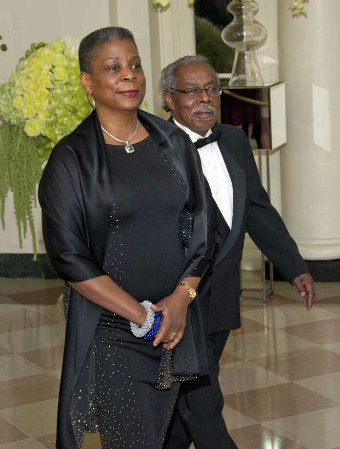 Xerox CEO Ursula Burns and Lloyd Bean arrive for a State Dinner in honor of Canada Prime Minister Trudeau and First Lady Sophie Trudeau at the White House on March 10, 2016 in Washington, D.C. (Photo by Ron Sachs-Pool/Getty Images) Photo: Pool / Getty Images / 2016 Getty Images