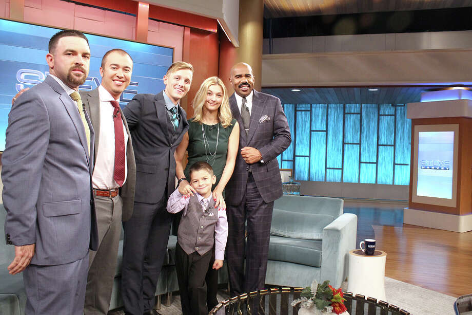 Tegan Kinane/NBC Leslie Prince, Michael Marquez, Michael Losoya, Brittany Blackmon, Jarid Gill and host Steve Harvey on the set of Harvey's show. Marquez and Losoya rescued Prince, Gill and Blackmon when their boat caught fire in the waters off Galveston last September.