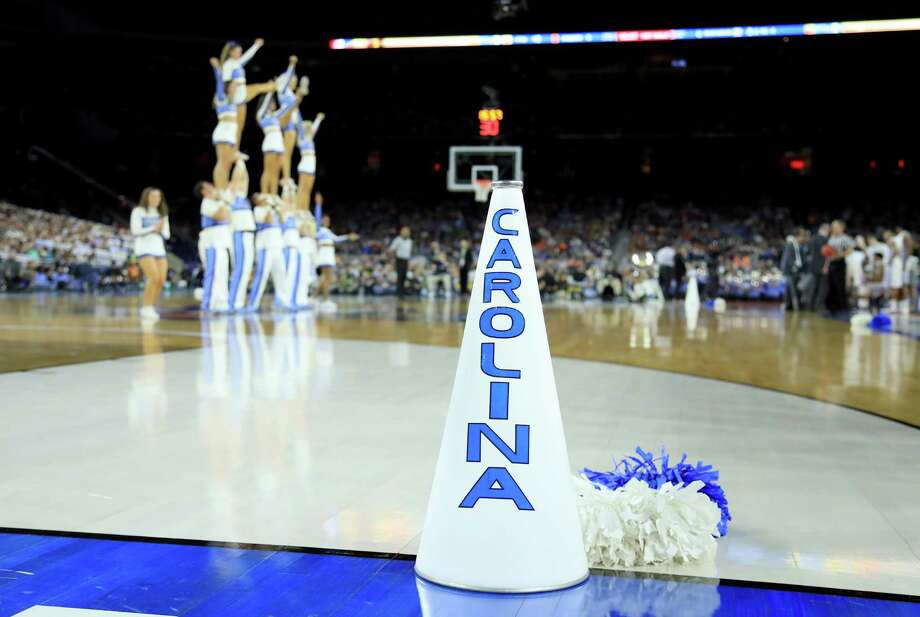 A detailed view of a North Carolina Tar Heels cheerleading megaphone during the NCAA Men's Final Four Semifinal between the North Carolina Tar Heels and the Syracuse Orange at NRG Stadium in Houston, Texas.  (Photo by Streeter Lecka/Getty Images) Photo: Streeter Lecka, Staff / 2016 Getty Images