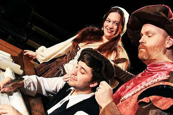 """(Left to right) Caitlin Papp, Dante Belletti and Michael Champlin star in """"The Beard of Avon."""""""