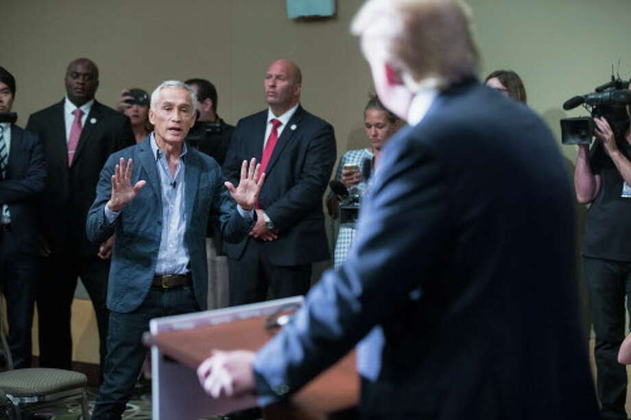 In August 2015, Jorge Ramos confronted Donald Trump at an Iowa press conference. Photo: Scott Olson, Getty Images / 2015 Getty Images