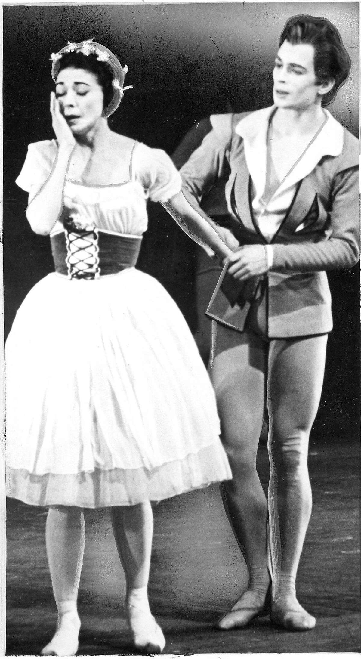 Rudoplph Nureyev and Dame Margot Fonteyn are performing in Giselle Photo ran 07/12/1967, p. 1 Handout
