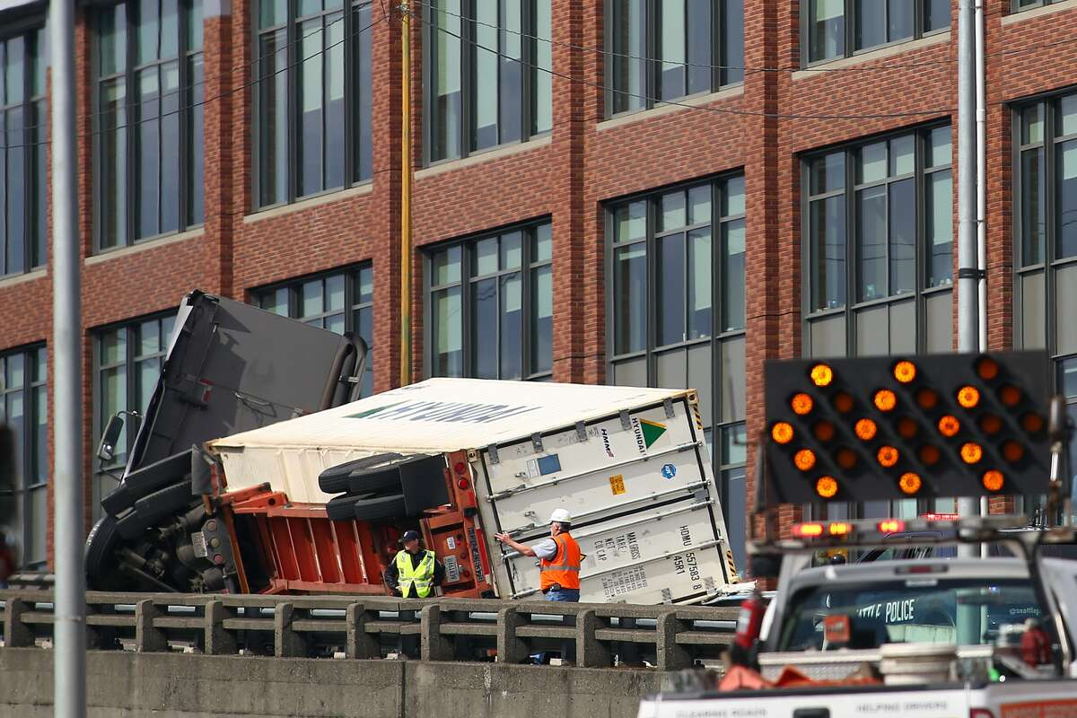A semi truck crash blocked traffic Monday afternoon on the northbound side of the Alaskan Way Viaduct.