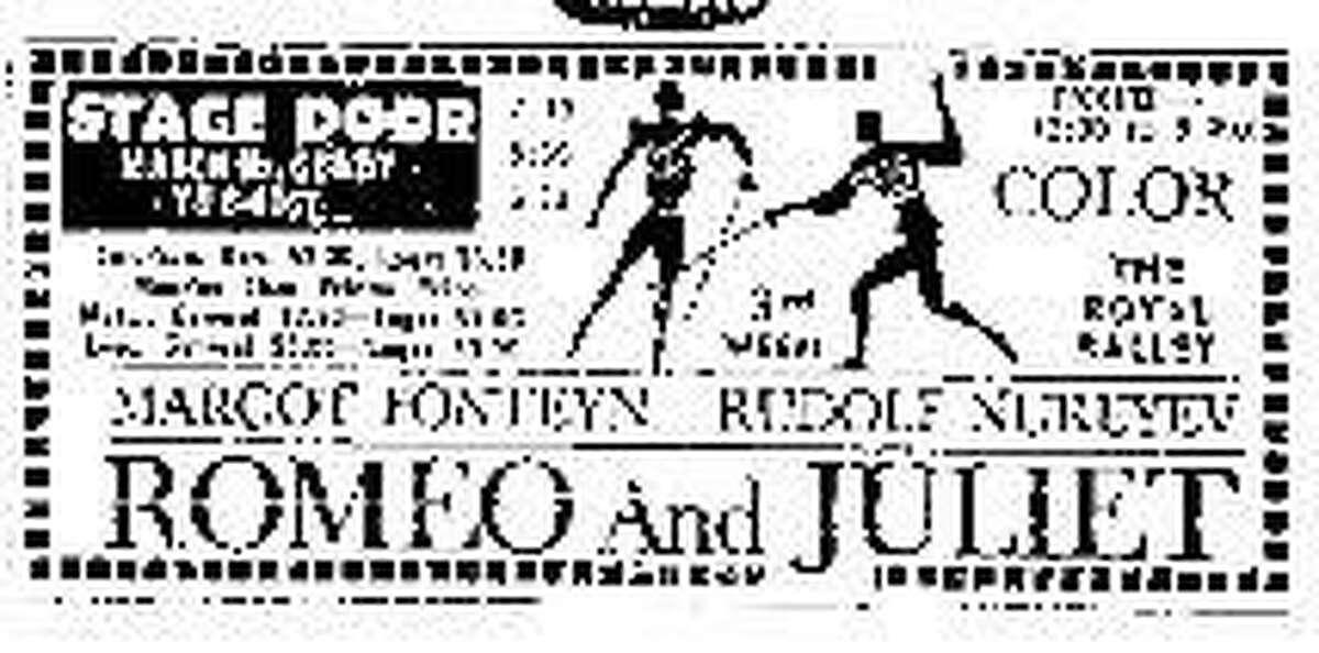 An Ad for Romeo and Juliet ballet starring Margo Fonteyn and Rudolf Nureyev