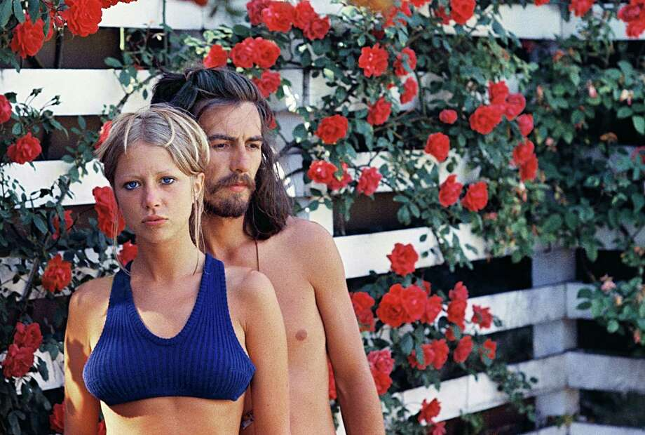 Pattie Boyd took this photo of her and George Harrison in a rose garden in Surrey, England, in 1968. Photography by Pattie Boyd. Photo: /Courtesy Morrison Hotel Gallery