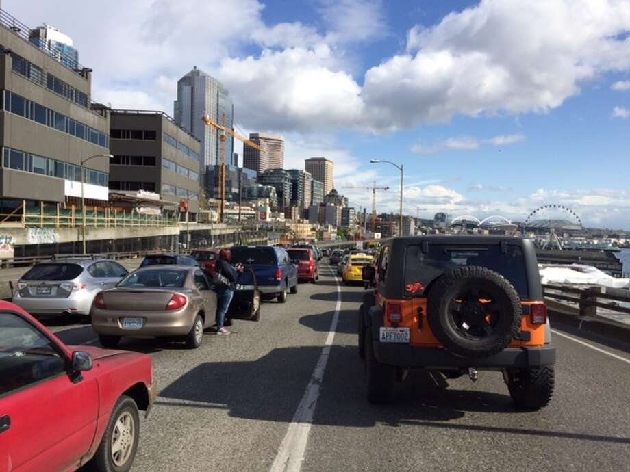 The Alaskan Way Viaduct is set to be closed this weekend for its semiannual inspection. Keep clicking to see images of the viaduct over its long history. Photo: SCOTT SUNDE, SEATTLEPI.COM STAFF