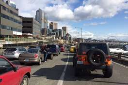 Southbound traffic was also closed Monday afternoon while crews cleared a semi truck crash scene on the northbound side of the Alaskan Way Viaduct.