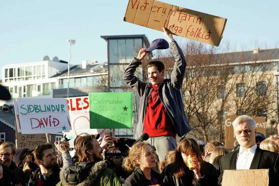 "An estimated 8,000 protesters met in Reykjavik on Monday to demand the resignation of Iceland's prime minister Sigmundur David Gunnlaugsson over details in the ""Panama Papers."""