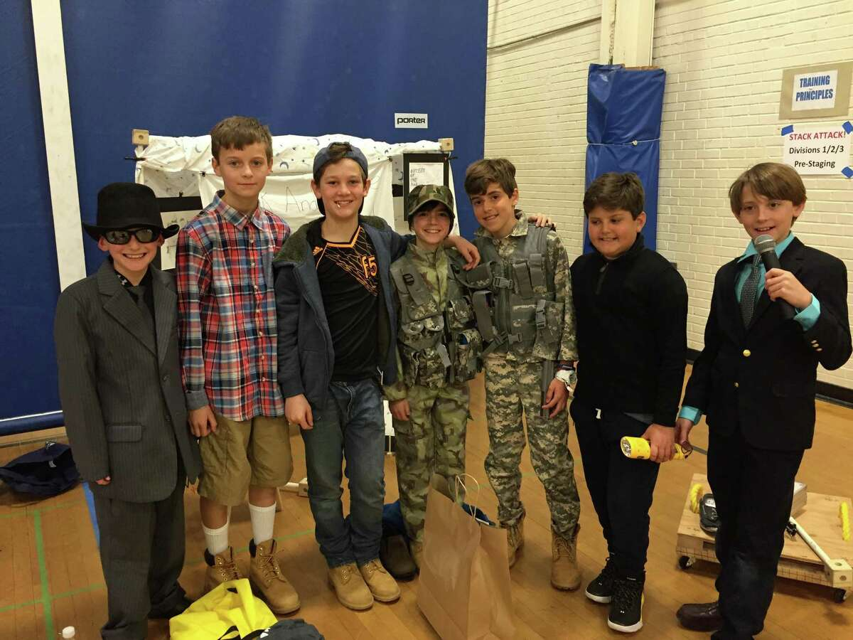 Brunswick School's fifth-grade team qualified for the world finals of the Odyssey of the Mind problem-solving competition with a first-place finish at the state finals. From left, are: Dylan Kirsch, George Walker, Andrew Donovan, Christian Larsen, Nicolas Tchkotoua, Harry Bonomo and Henry Sobaro.