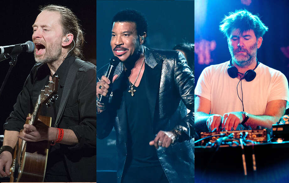 Outside Lands 2016 headliners (from l-r): Radiohead, Lionel Richie, LCD Soundsystem.