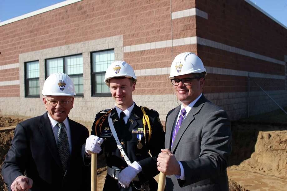 U.S. Rep. Paul Tonko, Christian Brothers Academy Cadet Col. Nick Lewis and Head of School James Schlegel celebrate the Art and Science wing construction. (Colleen Ward)