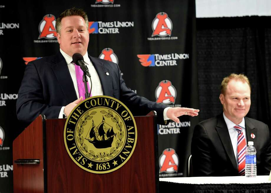 Albany County Executive Dan McCoy is joined by Hugh Weber, president of the New Jersey Devils at the announcement of the new three year lease by the New Jersey Devils hockey organization and the Times Union Center Monday April 4, 2016  in Albany, N.Y.  (Skip Dickstein/Times Union) Photo: SKIP DICKSTEIN / 10036063A