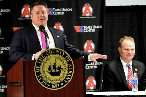 Albany County Executive Dan McCoy is joined by Hugh Weber, president of the New Jersey Devils at the announcement of the new three year lease by the New Jersey Devils hockey organization and the Times Union Center Monday April 4, 2016  in Albany, N.Y.  (Skip Dickstein/Times Union)