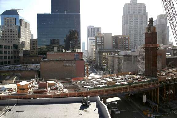 The roof of the building at lower left seen from 543 Howard St. in San Francisco, California on monday, April 4, 2016, is one of three buildings  where a new tower is proposed that would be designed by Italian architect Renzo Piano.  The architect is known locally for his California Academy of Sciences building.