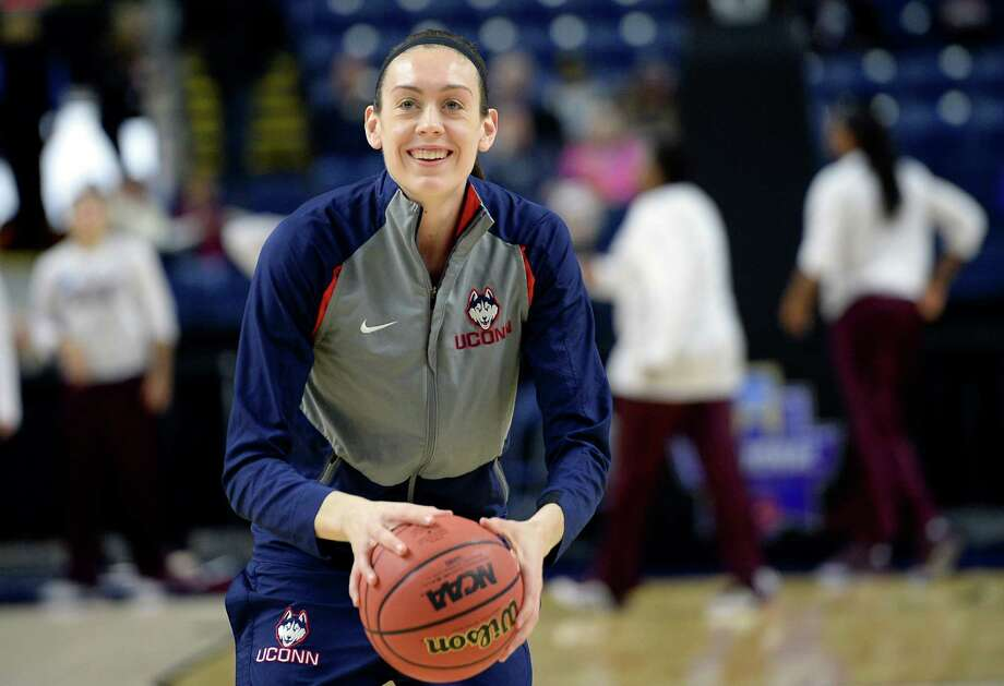 Connecticut's Breanna Stewart warms up before an NCAA college basketball game against Mississippi State in the regional semifinals of the women's NCAA Tournament, Saturday, March 26, 2016, in Bridgeport, Conn. (AP Photo/Jessica Hill) Photo: Jessica Hill, FRE