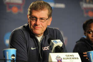 UConn women's basketball coach Geno Auriemma addresses the media at the Webster Bank Arena in Bridgeport, Conn. on Sunday, March 27, 2016. UConn plays Texas in the NCAA Regional Championship game on Monday.