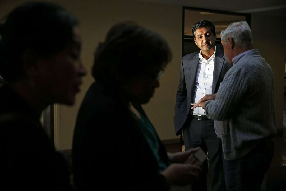 Ro Khanna, seeking to unseat Rep. Mike Honda, listens during a town hall meeting in Milpitas. Photo: Scott Strazzante, The Chronicle