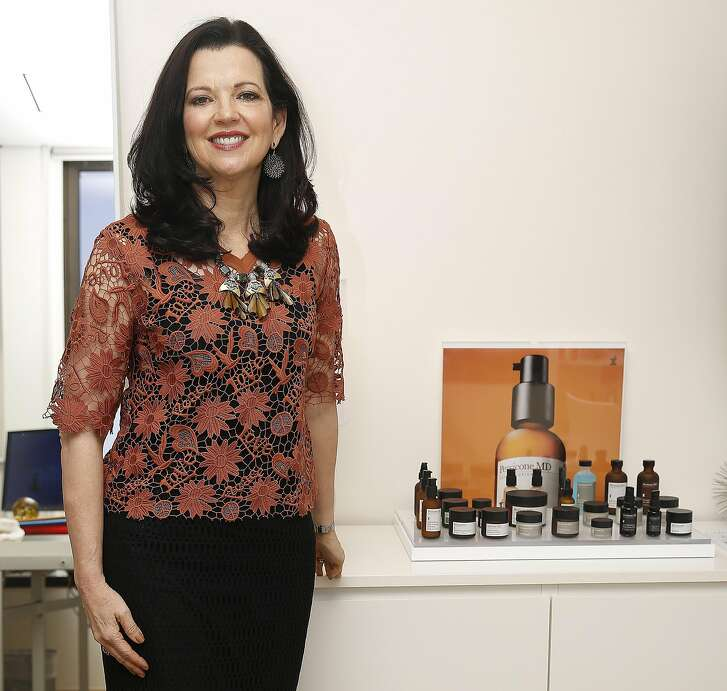 CEO Mary Van Praag of Perricone MD shows products at her office in San Francisco, California on monday, April 4, 2016.