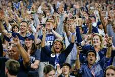 Villanova fans cheer after their team wins the NCAA National Championship at NRG Stadium, Monday, April 4, 2016, in Houston.