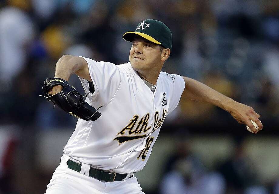 Oakland Athletics pitcher Rich Hill works against the Chicago White Sox in the first inning of a baseball game Monday, April 4, 2016, in Oakland, Calif. (AP Photo/Ben Margot) Photo: Ben Margot, AP