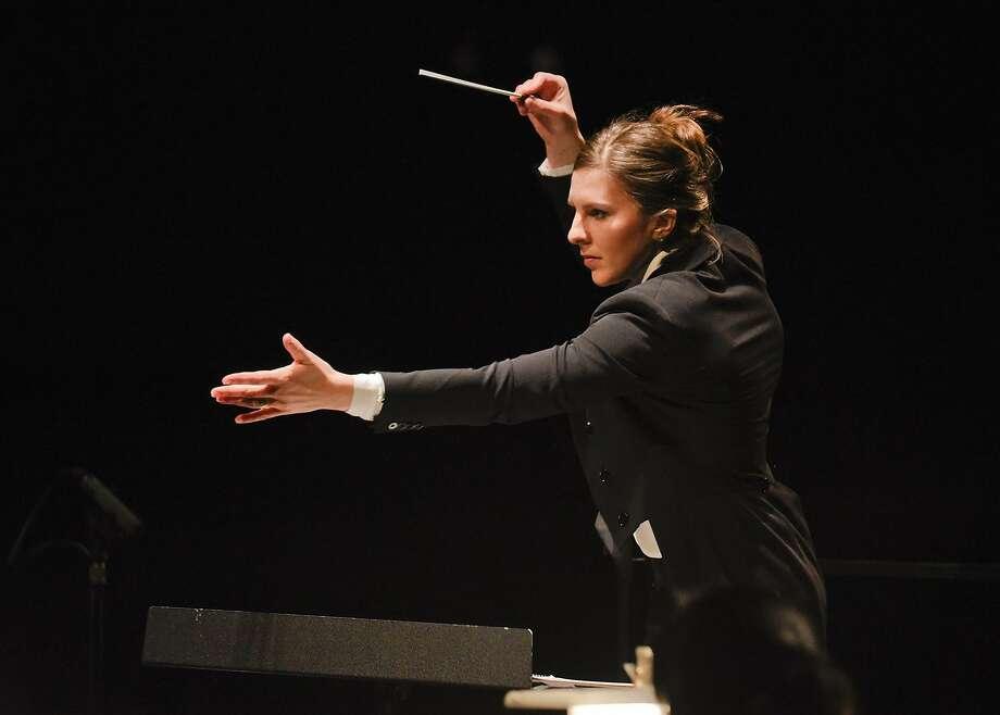 Conductor Lidiya Yankovskaya leads the New Opera NYC. Photo: Karen Almond Photography