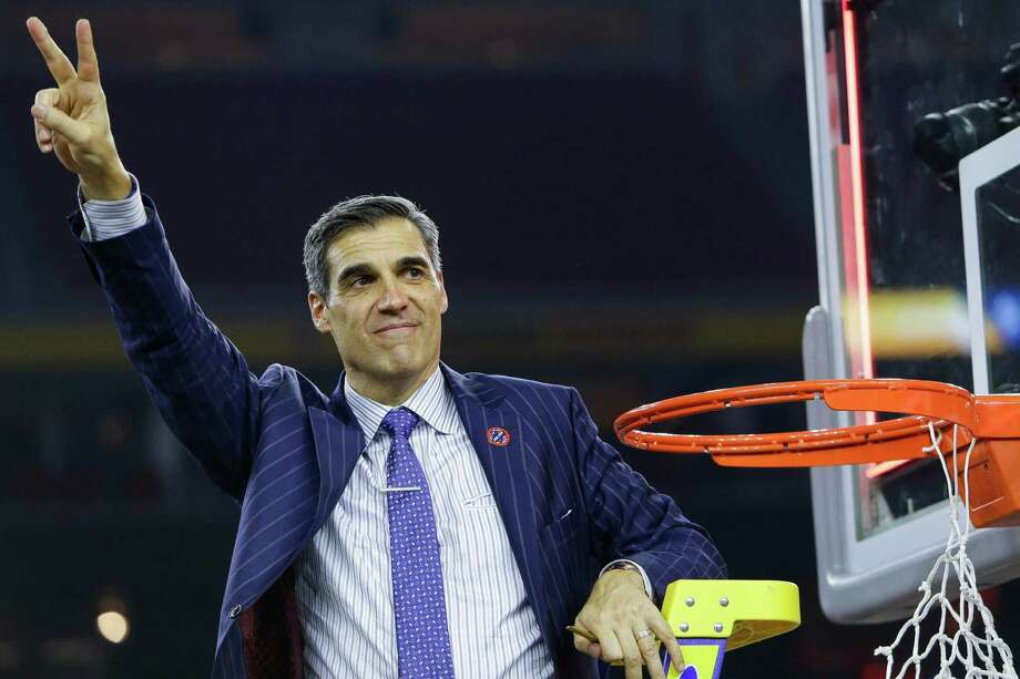 Villanova coach Jay Wright joins in the fun after Monday's national title win. Photo: Brett Coomer, Staff / © 2016 Houston Chronicle
