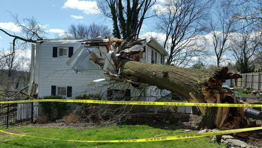Stamford Fire Department Deputy Fire Chief Eric Lorenz took photos at Elmbrook Drive on Sunday, April 3, when he responded to a call of a tree down on a home. Both homeowners were safely out of the house, which will have to be demolished. Photo: Contributed Photo