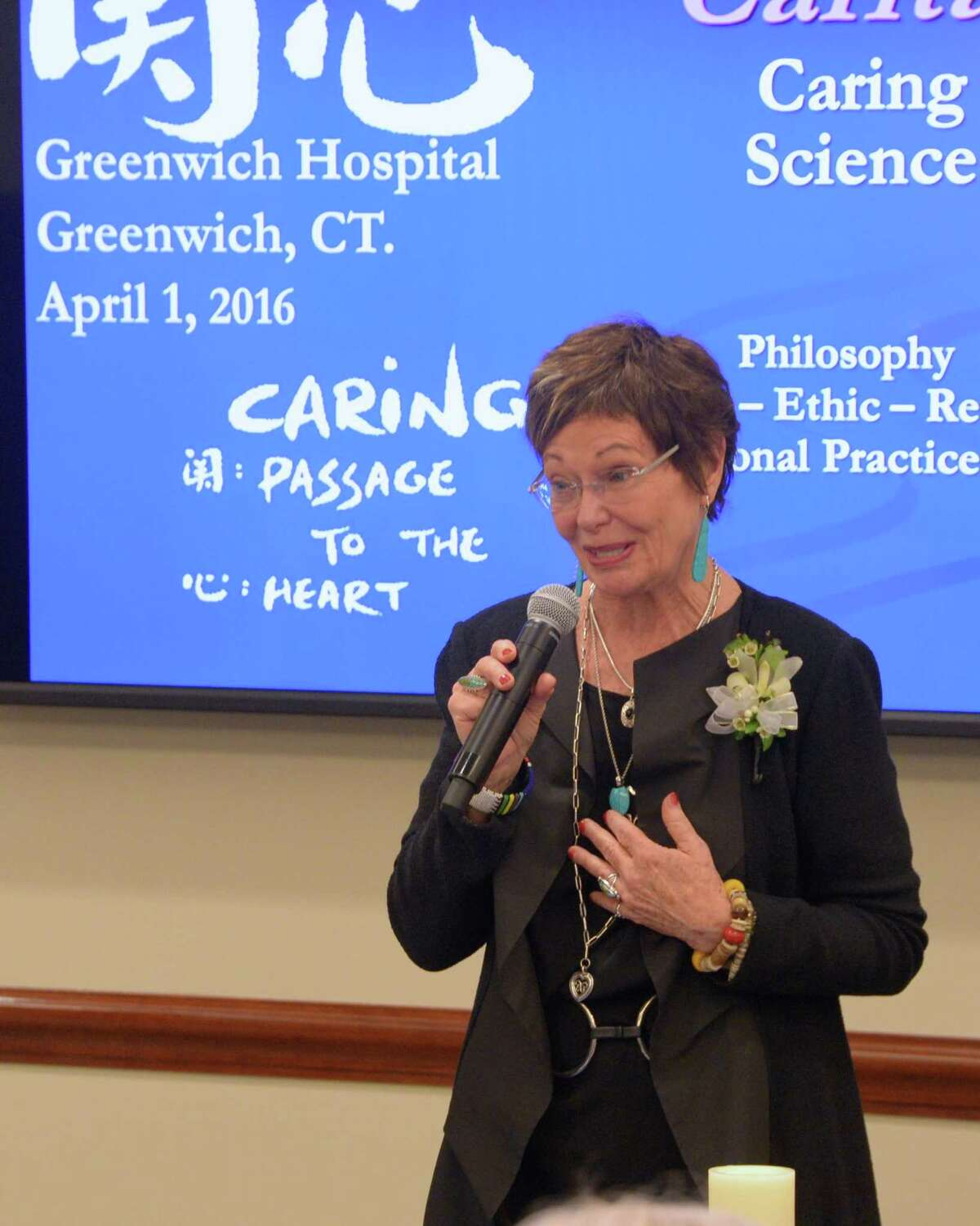 Jean Watson delivers remarks at Greenwich Hospital.