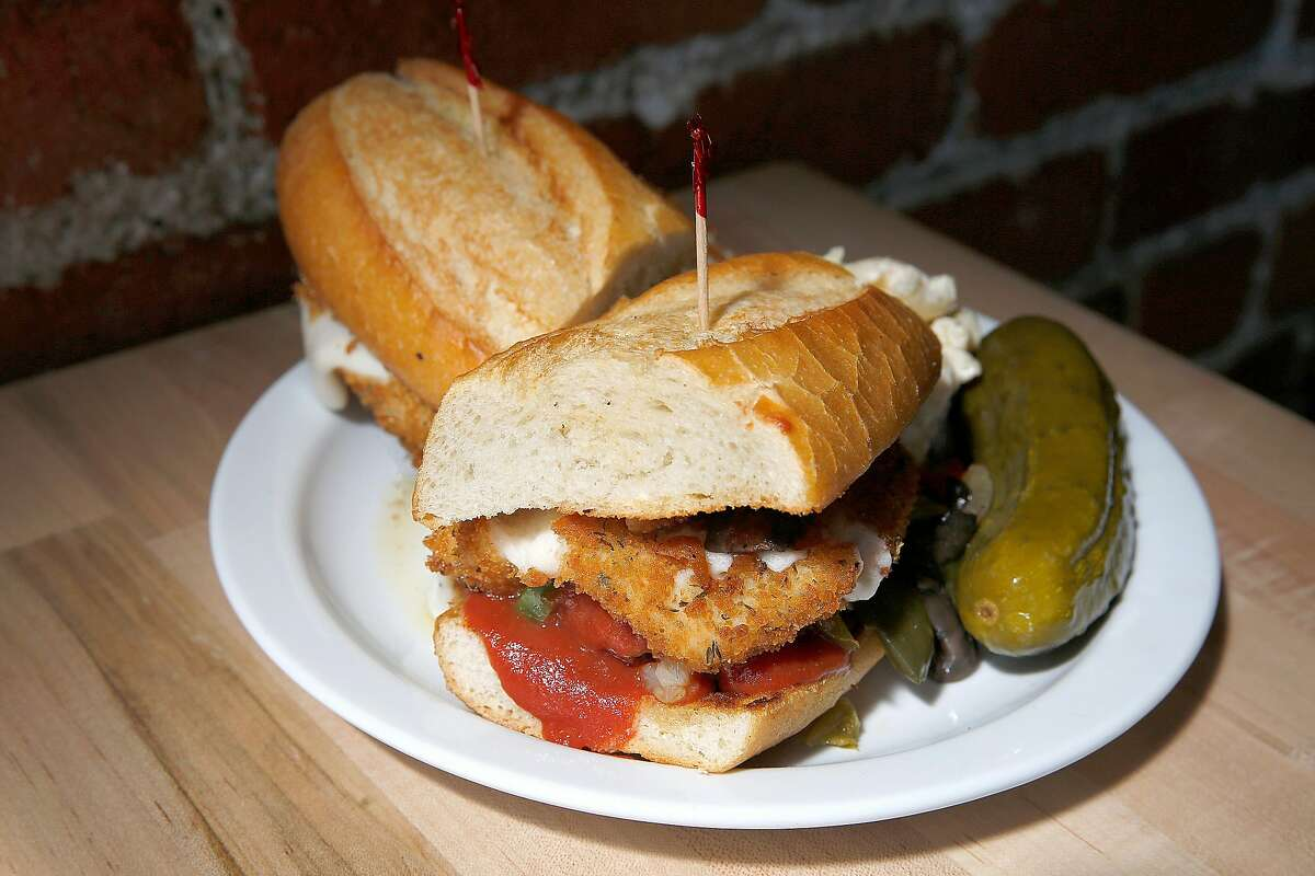 A fried mozzarella and meatball sandwich served at the new vegan butchery and restaurant Butcher's Son in Berkeley, California on thursday, march 31, 2016.
