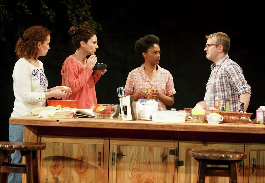 """This image released by The Publicity Office shows, from left, Maria Striar, Annie Parisse, April Matthis and Nat DeWolf, in a scene from Anne Washburn's new play, """"Antlia Pneumatica"""", currently performing off-Broadway at Playwrights Horizons in New York. (Joan Marcus/The Publicity Office via AP)   ORG XMIT: NYET116 Photo: Joan Marcus / The Publicity Office"""