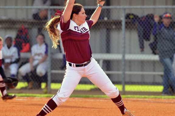Cy Fair softball team visited Jersey Village for a game, 4-01-2016.   Starting pitcher for Cy Fair was Simone Langland (17).