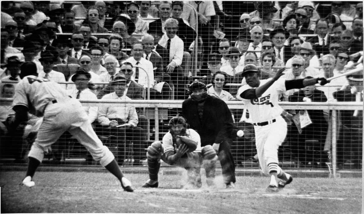 04/10/1962 - Colt 45s Jim Pendleton hits the ball. The Houston Colt .45s made their National League franchise debut April 10, 1962 with an 11-2 victory over the Chicago Cubs before 25,271 at Colt Stadium. staff / Houston Chronicle